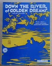 Down The River of Golden Dreams - 1930 sheet music - couple in canoe cover