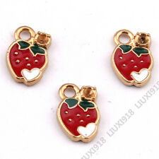 10x Enamel Gold Plated Strawberry Pendant Charm DIY Jewelry Accessories 932H