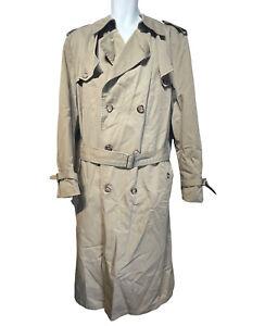 Christian Dior Monsieur VINTAGE Beige Wool Liner Trench Rain Coat Size 42L
