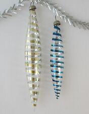 Set 2 Icicle Glinka Vintage Xmas Decor Christmas Russian Glass Ornament Ussr_