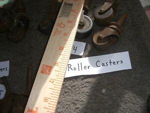 "Vintage CASTER WHEELS Set 4 IRON STEM CASTERS 1 1/2 "" Single WHEELNice Patina #4"
