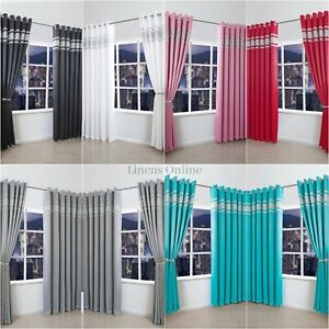 New Luxurious Diamante Thermal Blackout Curtain Pair Ready Made Ring Top Eyelet