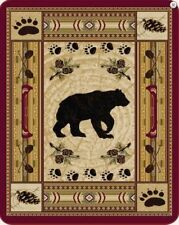 NATIVE BLACK BEAR 79x96 QUEEN BLANKET :  MINK FAUX FUR PLUSH SOUTHWESTERN