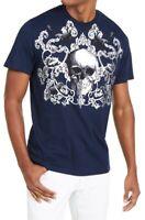 INC Mens T-Shirt Blue Silver Medium M Metallic Foil Skull & Scroll Tee $29 129