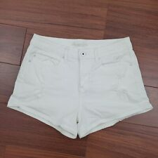 American Rag Cie Denim Shorts Juniors size 9 Distressed Stretch Mid Rise White