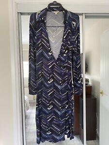 Next Size 16 Purple/ Multi Jersey Style Faux Wrap Dress