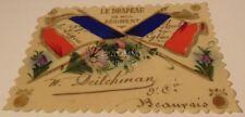 """Carte en plastique décorée """"Le drapeau de mon régiment"""" 51ème RI français WW1"""