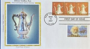 Colorano Silk 3754 Silver Coffee Pot Stamp with Longfellow Stamp