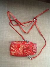 Wilson Leather Cellphone/Wallet Purse Redorange Leather Shoulder Strap Belt Clip