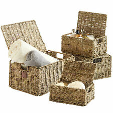 VonHaus Seagrass Wicker Baskets Set Of 4 Storage OrganisersWith Handles & Lids
