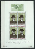 "Sénégal Bloc N°4** (MNH) 1968 - Chancelier ""Konrad Adenauer"""