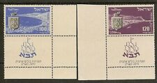 ISRAEL 1952 AIR STAMP EXHIBITION (TABA) TABS SG64b/c MNH