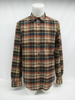 EDDIE BAUER Blue Red Check Plaid Flannel Cotton Long Sleeve Mens Shirt Medium