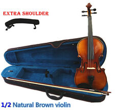 New 1/2 Student Natural brown Antique Violin+ Bow+ Case+ Rosin+ Shoulder rest