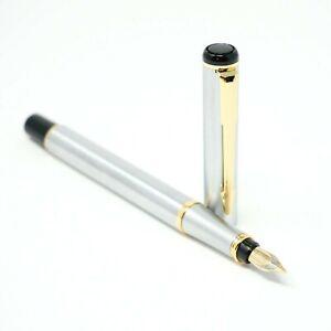 Baoer #801 Stainless Steel Fine Fountain Pen F Nib Gold Trim Black Ink - UK