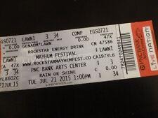 Mayhem Festival 2015 Concert Ticket Stub Pnc Nj with Guest Pass