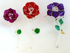 3 Roses Red Purple Roses Crystal Figurine Collectable Statues #C26