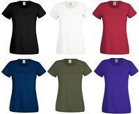 Womens Ladies T-shirt Soft Style Plain Crew Neck T-Shirt Cotton Tee Cotton Top