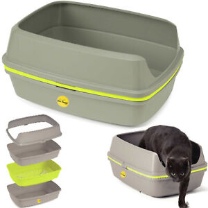 Cat Scoopless Litter Tray Sifting Grey Toilet Box High Sided Extra Deep Large