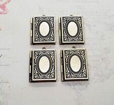 Oxidized Brass Book Lockets (4) - BOG081