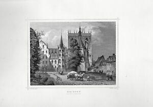 Meissen - Schloß & Domkirche - Stich, Stahlstich von Kolb/Rohbock um 1870