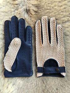 Blue Men's Deerskin Leather Gloves Crochet Top Leather Palm