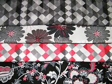 4 FQ Bundle – Red, Black & Gray Prints 100% Cotton Quilt Fabric Fat Quarters