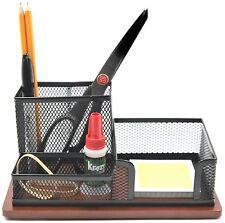 KLEAREX black mesh multi compartment desk organizer caddy with wooden bottom