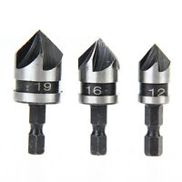 3 X 1/4 Hex Countersink Drill Bit Set for Wood Metal Quick Change Drill Bit Tool
