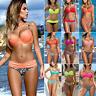 Damen Push-up Bademode Schewimmanzug Gepolsterter BH Bikini Set Strand Badeanzug