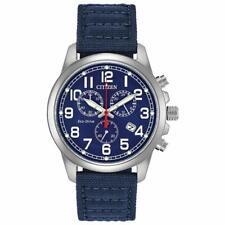 Citizen Eco-Drive Chronograph Blue Canvas Watch AT0200-05E NEW