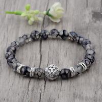 DouVei Men's 8MM Natural Stone Silver Lion Beaded Fashion Women Bracelet Jewelry