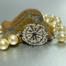 14k 14k weißgoldschloß CON ZAFIRO 94CM COLLAR DE PERLAS collar oro