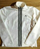 Adidas Vintage Climaproof Womens Tracksuit Top Jacket White Black Stripes