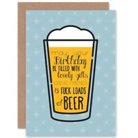 Happy Birthday Pint Lager Beer Adult Blank Greeting Card With Envelope