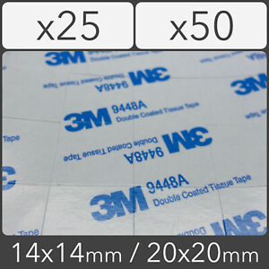 3M9448A 14x14 / 20x20 0.15mm Double Coated Tissue Pad Thermally Conductive Black