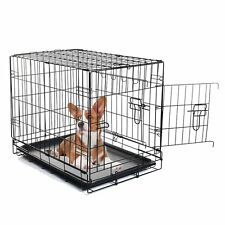 Double-Door Folding Metal Pet Crate for Dogs, Cats with ABS Tray- SBL-0016