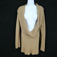Old Navy Sweater Womens Size XL Brown Knit Rayon Blend Scoop Neck Long Sleeve