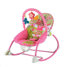 Baby Rocker Bouncer Reclining Chair Soothing Music Vibration with Toys, Pink