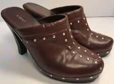 Fioni Womens Brown Leather Studded  4 inch Clogs Size 8