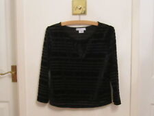Co Operative Ladies Black Velvet Lace Stripey Top Size Small