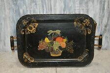 Antique Black Metal Fruit Basket Tole Tray with Handles Toleware
