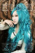Anime 99.1cm Karneval IVA IWA Blu Ricci Lungo Coda di cavallo Cosplay parrucca