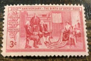 Scott 1004- Betsy Ross, 200th Anniversary, Flag- MNH 3c 1952- unused mint stamp
