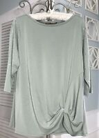 NEW Plus Size 3X Green Blouse Silver Stud Belldini Top Shirt