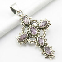 "925 Pure Silver Marquise, Oval Amethyst Pendant 1.8"" 4.6 Grams Gift Jewelry"
