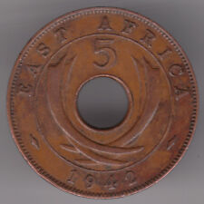 East Africa 5 Cents 1942 Bronze Coin - Four Tusks