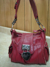 BETSEY JOHNSON Red Leather STUDDED HOBO PURSE Vintage Early NOT PERFECT....READ