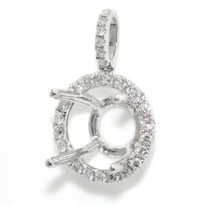 Pendant Setting Mounting For A 3.90 Carat Center In Solid 14k White Gold