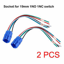 2 Pcs Pigtail, Wire Connector, Socket Plug for 19mm Push Button Switch 1NO 1NC